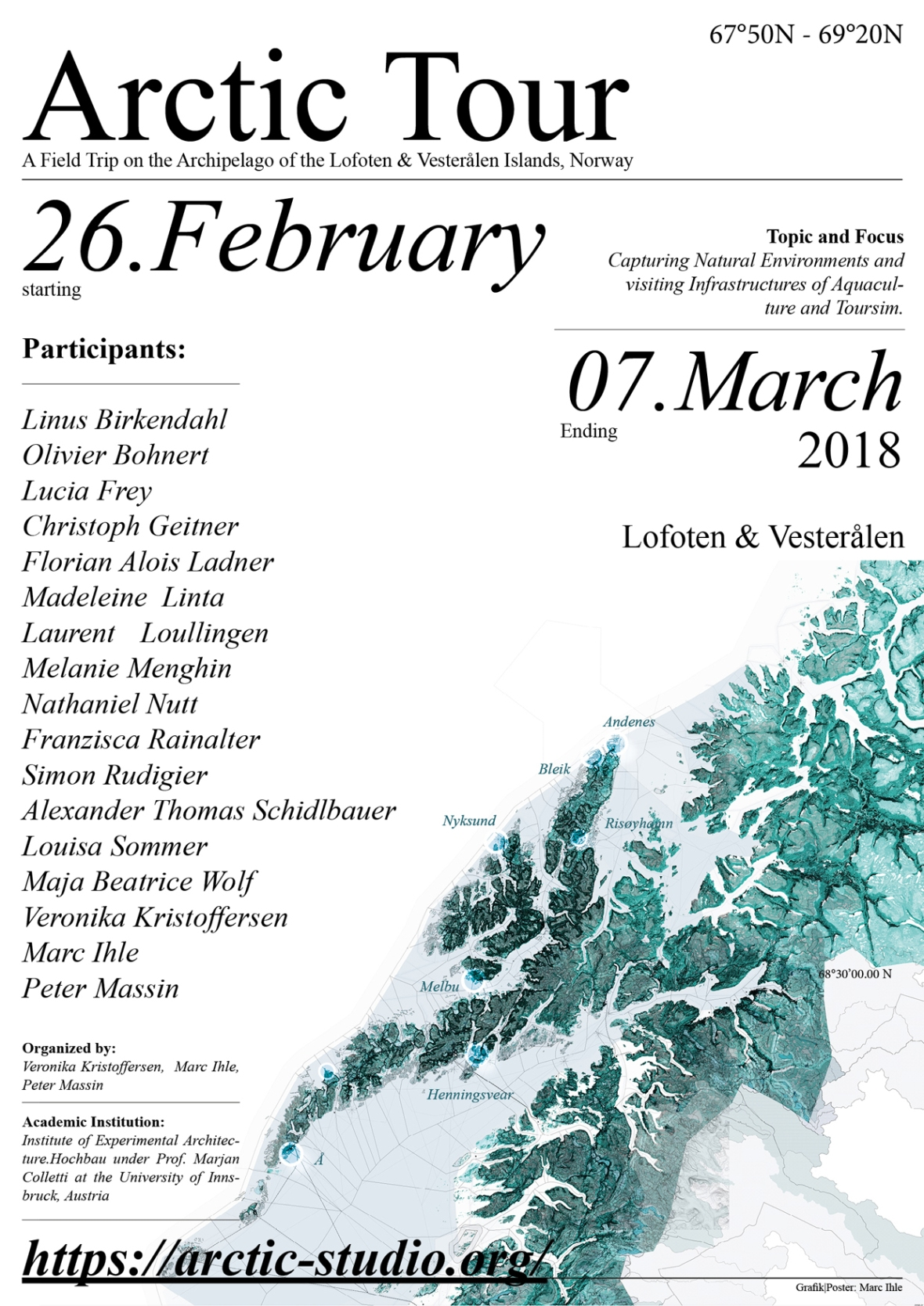 Announcement of the Arctic Tour - Fieldtrip to Lofoten and Vesteralen Islands, Norway | organized by Veronika Kristoffersen, Marc Ihle and Peter Massin | Institute of Experimental Architecture.Hochbau at the University of Innsbruck