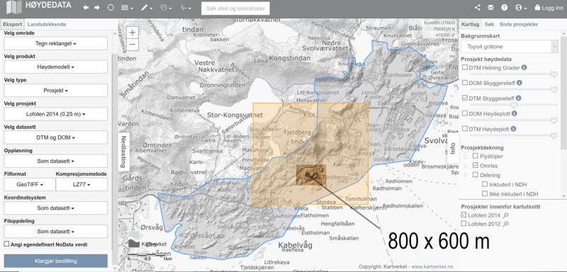 Hoydedata.no | Lofoten 2014 (0.25m) DTM og DOM | GeoTIFF LZ77 | test area 800x600m