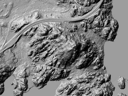 Hillshade: DTM and DSM with basic GIS Terrain Analysis of Svolvear   Resolution: 0.25m; Extend: 800x600m Tile: 33-1-496-326-64   data source: hoydedata.no   Digital Processing: Marc Ihle