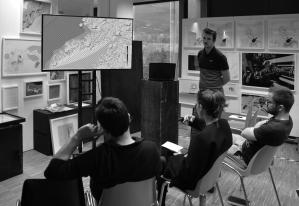 Mid Term Presentation of The Arctic Studio   The Jury Board: Daniela Mitterberger, Pavlos Ferreos, Peter Massin, Marc Ihle   Foto: Laurent Loullingen